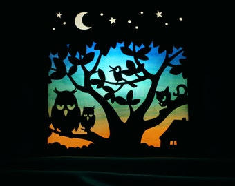 "Wall lamp ""Dream tree guests"" for children, lightbox in turquoise blue and yellow to snooze with moon and stars, owls, cat and singing bird"