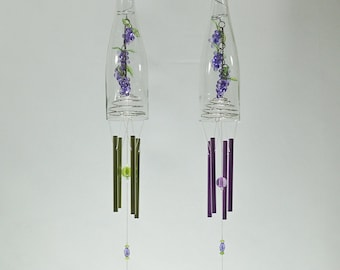Wine Bottle Wind Chime Grape Cluster