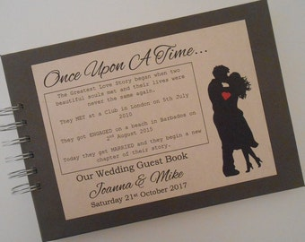 Personalised Vintage Wedding Guest Book Photo Album Scrapbook Rustic Wedding Guest Book ONCE UPON a TIME Wedding Guest Book