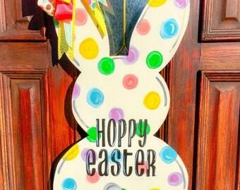 Bunny wood door hanger, Easter, door decor, spring, southern