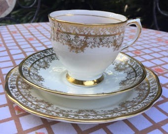 Vintage Salisbury Bone China 3 Piece Tea Set