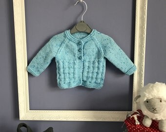 Hand Knitted Newborn Baby Boy Cardigan