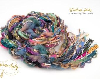 Woodland Jewels Fiber Art Yarn. 16 Yard Novelty Yarn, Ribbon and Art Fiber Bundle.