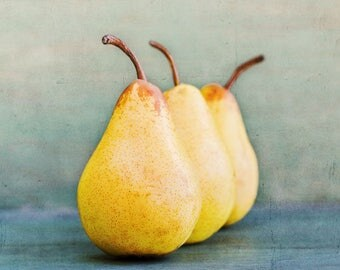 Three Pears - Original food art by Cath Lowe