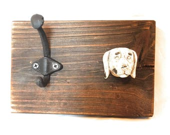 Decorative Walnut Wood Dog Leash Hanger