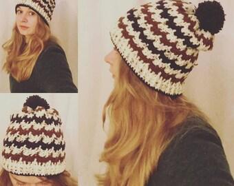Crochet Brown and Navy zig-zag beanie