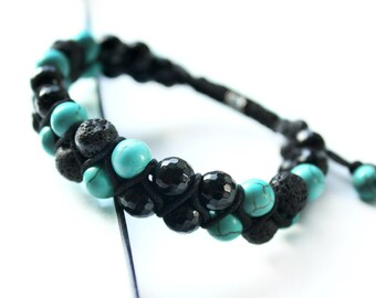 BRACELET FOR MEN, men's shamballa, best gift, present for him, shamballa bracelet, men's bracelet, gemstones, black and turqoise bracelet