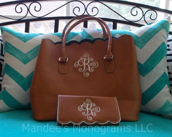 Monogrammed Scalloped Tote and Wallet Set, Monogrammed Scalloped Handbag and Wallet Set, Monogrammed Scalloped Handbag and Wallet Gift Set