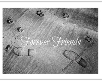 "Pet Sympathy Card to send when a Special Dog has passed away, Paw Prints & Human Footprints in the Sand, and the words ""Forever Friends"""
