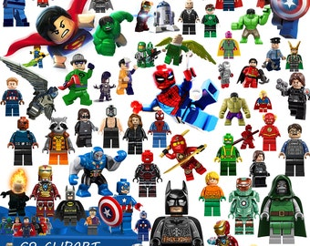 69 Heroes Lego Digital Clipart Printable LEGO PNG images  Background Scrapbook Party Images Instant Download