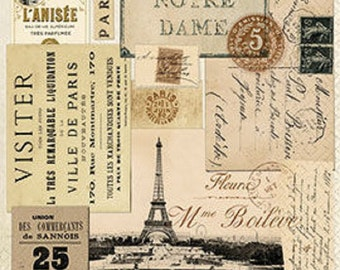 4 x Paper Napkins - Paris - Ideal for Decoupage / Decopatch