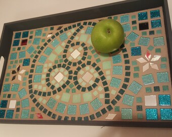 Antichrist Serving Tray ( decorative tray, mosaic tile tray, 666 wood platter )
