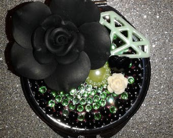 Beautiful bling Green/Black Compact mirror perfect gife Mom/Daughter friend