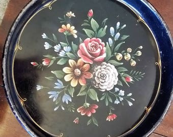 Vintage Round Tole Tray with Hand-painted Flowers