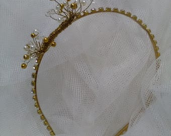 Bridal Headband with nacre pearls and gold. Valentine's Day gift. Party ornament. Wedding Guest.