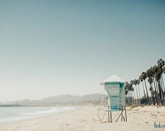 Santa Barbara, California beach lifeguard tower photo print