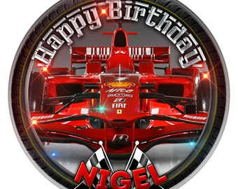 Red Ferrari F1 Personalised Edible Icing. Birthday Cake Topper Decoration 7.5""