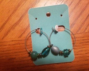 Shiny Blue hoop earrings
