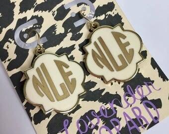 Monogram Earrings, Quadrefoil Earrings, Gold, Bridesmaid Earrings
