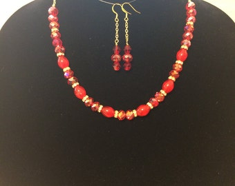 Red/gold/crystal necklace and earring set