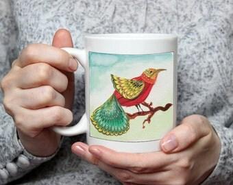 BIRD-LOVER ART Mug - original design - marbled-paper collage birds