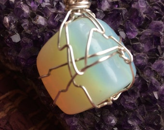 Opal Wire Wrapped Stone Pendant