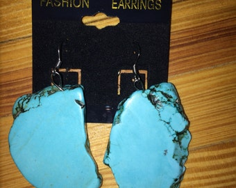 Large Turquoise Earrings Stainless Steel