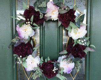 Ready to Ship - Peony Front Door Wreaths - Indoor Wreaths - Burgundy and Cream Peony - Purple Peony - Grapevine Wreaths - Housewarming Gift