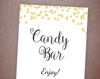 Candy Bar Sign, Wedding Candy Buffet Sign Printable, Wedding Dessert Table Sign, Candy Table Signs, Gold Confetti Party Decor, BSG1