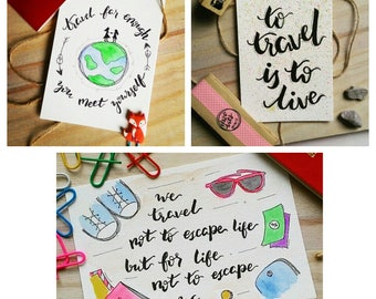 SET OF 3 - Wanderlust Travels Watercolor Handmade Motivational Notecards