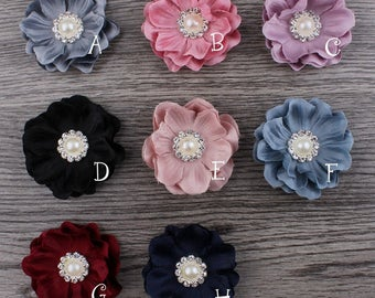 4.6cm 8colors Mini Felt Flower+Rhinestone Pearl Bead For Baby Girls Hair Accessories DIY Fabric Flowers For Headbands Hair Clips