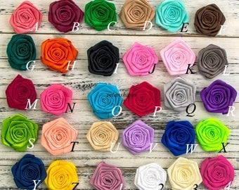 Free Shipping Ruffled Satin Ribbon Rolled Rose Flower For Hair Accessories Artificial Fabric Flowers For Headbands DIY Flower Supplies 2.4""