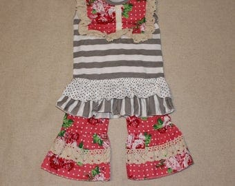 Girls Floral Ruffle Capri Set, Boutique clothing, Toddler Clothing