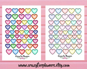 Heart Shape Printable Stickers, Cut Files, Instant Download, Silhouette Cameo, Planner Stickers. Functional Stickers, Digital, Printables