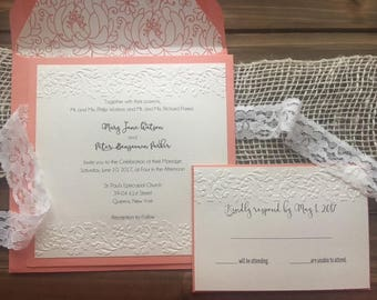 Square Floral Embossed Vintage Shabby Chic Wedding Invitation Suite