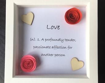 "3D Framed Shadow Box Art ""Love"""