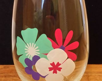 Floral Stemless Wine Glass/Mother's Day Gift