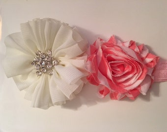 Ivory and salmon headband with rhinestones embellishment.