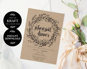 Rehearsal Dinner Invitation INSTANT DOWNLOAD, Practice Makes Perfect, Wedding Rehearsal Editable pdf, Printable Wedding invite - Audrey