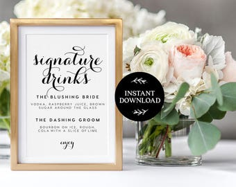 Signature Drink Sign INSTANT DOWNLOAD Editable PDF, Signature Drinks Printable, Wedding Reception Sign, Wedding Bar Sign - Charlotte