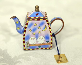 Trade Plus Aid C. Maddicott 1995 Enamel Teapot C769 Hand Painted