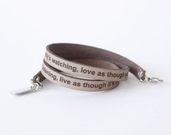Words from the heart leather braclet custom made