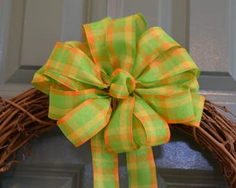 Lime Green Orange Plaid Bow, Lime Green Orange Bow, Check Bow, Summer Bow, Wreath Bow, Banister Bow, Basket Bow, Decorative Bow, Party Bow