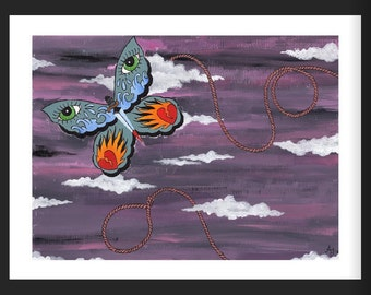Butterfly Noose Acrylic Painting Tattoo Print