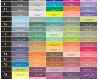 Printing styles color chart