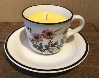 Vintage tea cup candle with saucer