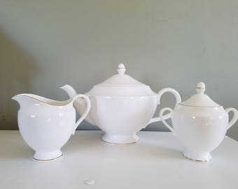 REDUCED Wedgwood Signet Gold Teaset: Teapot, Sugar, and Creamer