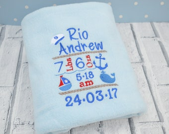 Personalised Baby Blanket, Personalised Blankets, Embroidered Blanket, New baby gift, Birth Stats Gift, , Baby Boy or Girl