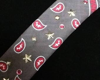Chic Artistic Handmade Studded Head Bandanas/12 Colors/Choice of Studs