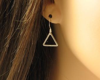 Triangle Drop Earrings, Triangle Dangle Earrings, Geometric Simple Earrings, Sterling Silver, Black or 14k Gold Fill, Understated Jewelry